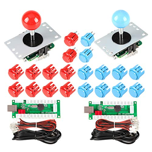 EG STARTS 2 Player Controlador USB para PC Juego 2x 5Pin Joystick + 4x 24mm + 16x 30mm Botones para Arcade Juegos DIY Cabinet Kits Piezas Mame SNK KOF Raspberry Pi Retropie Projects & Rojo / Azul