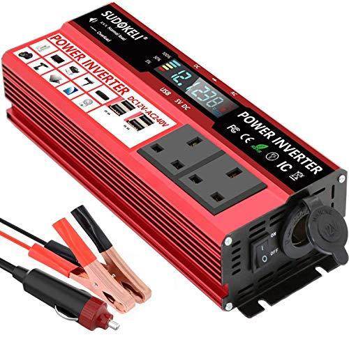 SUDOKEJI 1500W Power Inverter DC 12V to 230V 240V AC Car Converter 12V Inverter with 12v Cigarette...