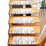 Asdomo 55 x 22 x 4 cm almohadillas autoadhesivas para escaleras, básicas antideslizantes de PVC, resistente a la alfombra de la escalera de la escalera de la alfombra de peldaños de la arena (multicolor, 1 unidad)