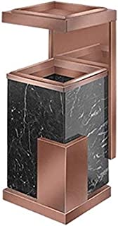 ZXJshyp Hotel Trash Can with Inner Barrel Lobby Hotel Property KTV Vertical Thick Marble Stainless Steel Elevator with Ash...