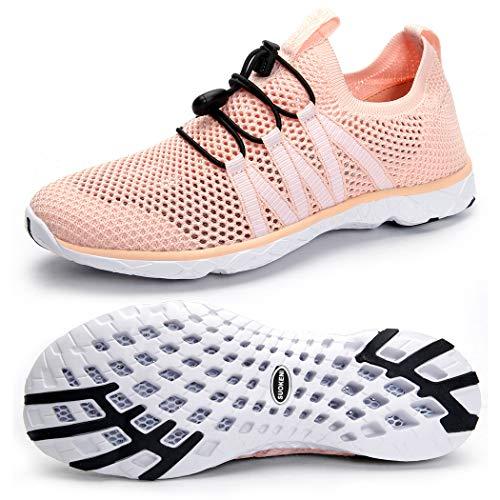 Tênis feminino de secagem rápida sem cadarço Suokeni para praia ou esportes aquáticos, Orange Pink, 7.5
