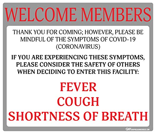 Gym'Do Not Enter with Symptoms' COVID-19 (Coronavirus), Durable Vinyl Decal- (Various Sizes Available) Sign by Graphical Warehouse (11.25x9.64', Red/Grey)