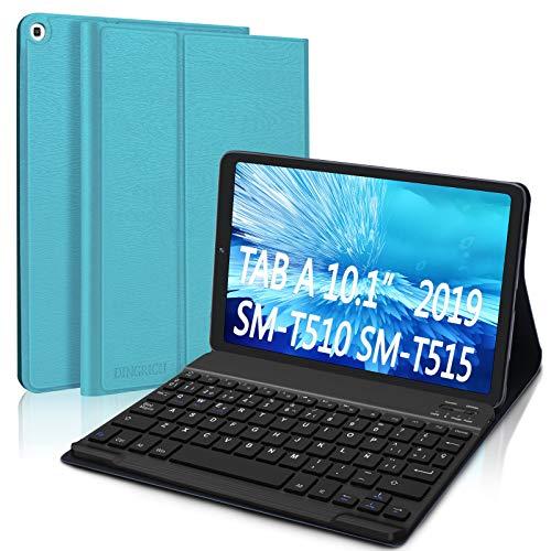 """DINGRICH Funda Teclado Español Ñ para Samsung Galaxy Tab A 2019 10.1"""", Bluetooth Teclado Inalámbrico Extraíble Magnético para Samsung Tab A 10.1 T510/T515/T517 Azul"""