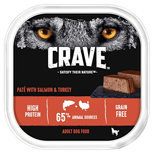 Crave Turkey & Salmon Dog Food Paté – High Protein & Grain-Free – 300 g (Pack of 10 Trays)