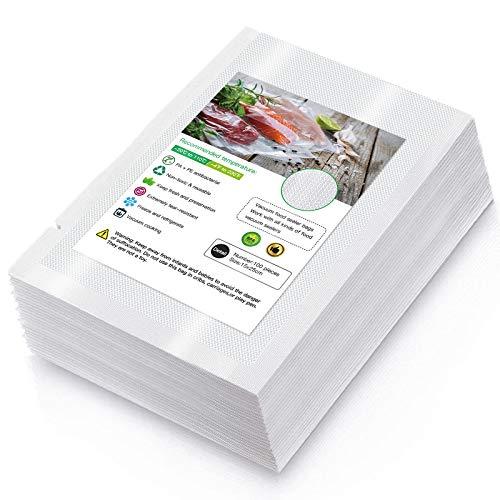 Bolsas de Vacio para Alimentos, 100 Bolsas 15 x 25cm (0.49'x0.82') Bolsas de Vacío de Alimentos, BPA Free, Bolsas de Vacio Gofradas para Conservación de Alimentos y Sous Vide Cocina & Boilable