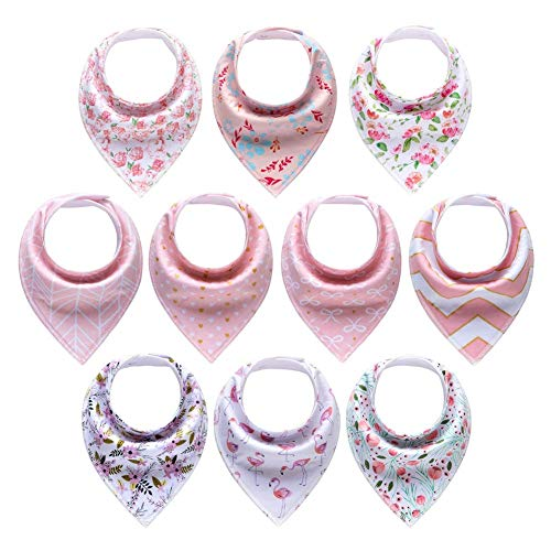 Newthinking Girl Dribble Bibs, 10 Pack Baby Bandana Bibs with Adjustable Snaps, 100% Cotton Girls Baby Drool Bibs for 6-24 Months Newborn and Toddlers, Pink