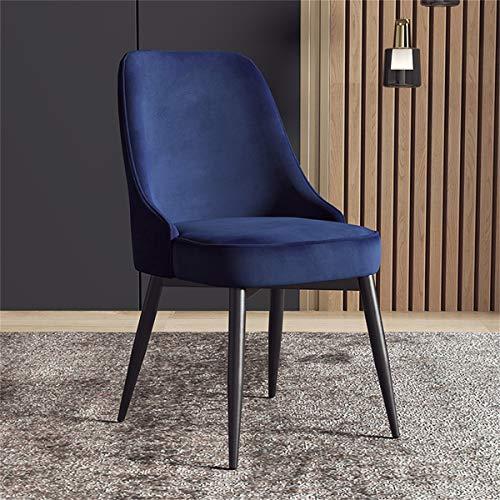 Silla de cocina con silla de cocina de terciopelo silla de sala de estar, silla de recepción de patas metálicas robustas con respaldo y asiento acolchado gris