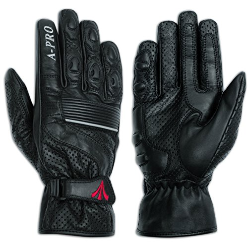 A-Pro Summer leather sport Gloves Scooter Motorcycle Motorbike Bikers Black 3XL