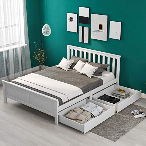 Double Bed Wooden Frame,4.4 x 6.2 ft Wooden Solid White Pine Storage Bed Drawers Bedroom Furniture Frame,Platform Bedstead for Adults,Kids,Teenagers,135 x 190 cm