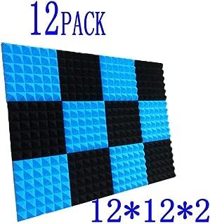 12 Pack Black Studio Wedge Tiles, Acoustic Foam Sound Absorption Pyramid Studio Treatment Wall Panels 2