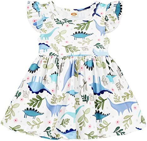 YOUNGER TREE Infant Toddler Baby Girl Dinosaur Dress Summer Casual Sleeveless Dress Baby Girl product image