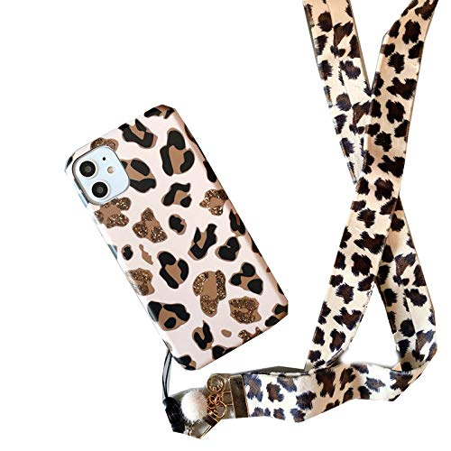 EYDLK Leopard Print Phone Case for iPhone 11 12 Pro MAX XR Plus Strap Soft Silicone Lanyard Cover-with Lanyard-for iPhone 11Pro MAX