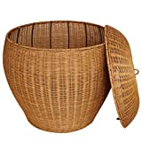 Cesto para ropa sucia con tapa, cesta de almacenaje de ropa sucia grande de mimbre de bambú (Color : Brown)