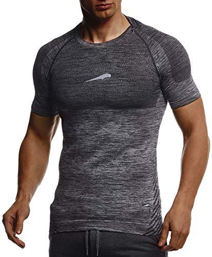 Leif Nelson Gym Herren Seamless Fitness T-Shirt Funktionsshirt Slim Fit Männer Bodybuilder Trainingsshirt Kurzarm Sportshirt - Bekleidung für Bodybuilding Training LN8307 Schwarz-Reflekt Large