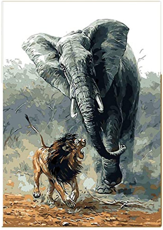 Lion and Elephant Wars Malen nach Anzahl DIY Tier handgemalte Wandbilder Färbung nach Zahlen für Wohnzimmer Home Kunst Mit Rahmen 40x50cm B07Q2FBZF5 | Schön geformt