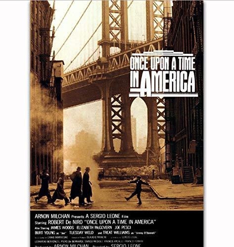yhnjikl Robert De Niro Película Érase una Vez en América Cartel de película Arte Luz de Seda Lienzo Casa Habitación Decoración de impresión de Pared 40X60Cm Sin Marco