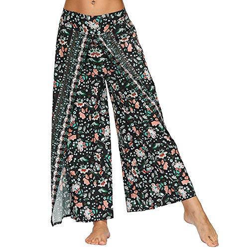 Nuofengkudu Mujer Cintura Alta Hippie Largo Pantalones Dividir Pata Ancha Boho Flores Estampados Elegantes Anchos Comodos Thai Fluidos Yoga Pants Verano Playa Vacaciones Casual(Verde Floral,M)