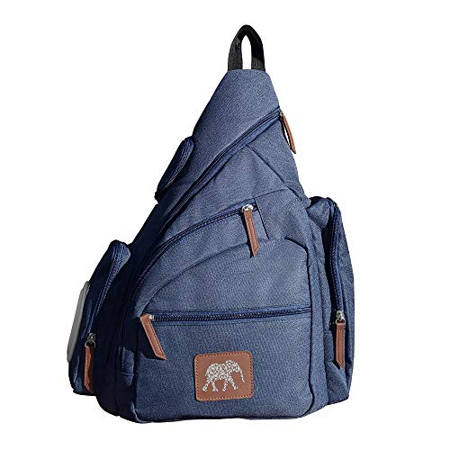 Diaper Bag, Shoulder Sling Backpack, Crossbody, Small to Medium, Unisex, Navy, with changing pad/mat, wipes dispenser and insulated milk bottle compartment