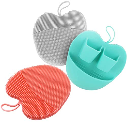 Soft Manual Silicone Facial Cleansing Brush Mild Face Wash Scrubber, Exfoliating Blackhead Remover Cleansing Pads (3-Color)