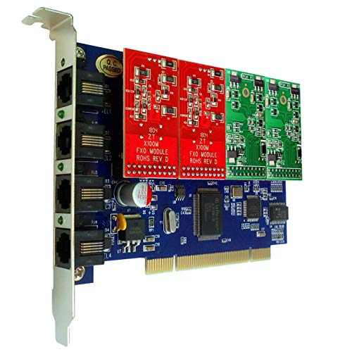 TDM400P 4 Port FXS FXO Card with 2 FXS + 2 FXO Ports,Supports Asterisk,Freepbx,Issabel,dahdi PCI Card for VoIP PBX Telephone Appliance