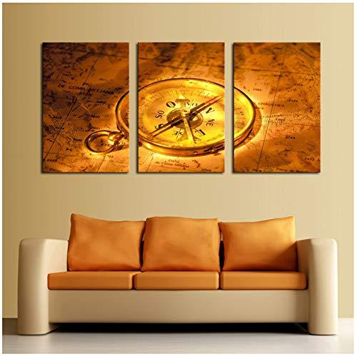 Bzdmly Art Abstracte schilderijen, moderne afbeeldingen, 3-delig, wandklok, goudkleurig, kaart, wand, huis, slaapkamer, decoratie 40x60 cm/15.7