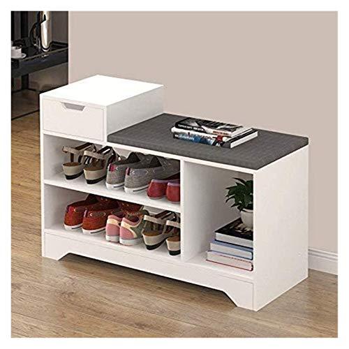 Shoe Gabinete Bench, Pasillo de muebles, estante del zapato con Asiento Asiento Bench, almacenaje del asiento de banco con 2 cajones, White zapatero Banco en 80 x 45 x 30 cm ( Color : White 1 Drawer )