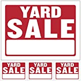 """Kicko Yard Sale Sign - Pack of 4 12"""" X 16"""" All-Weather Plastic Coated Tags for Car Sales, Advertising Signage, Business Purposes, Commercial Posts in Stores, Garage, Booths"""