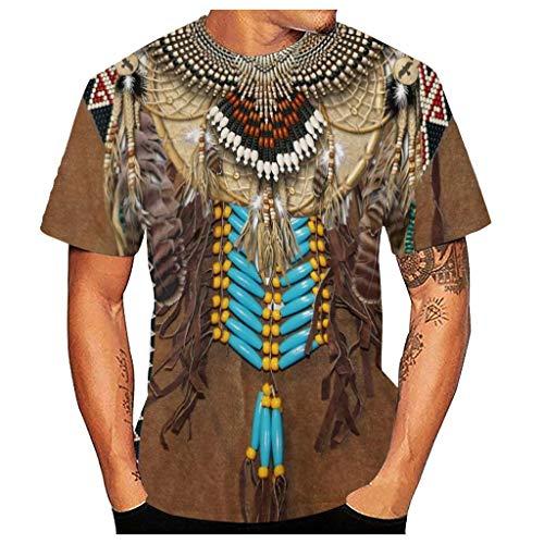 Yowablo Herren Basic T-Shirt 3D Vintage Ethnic Style Print O-Ausschnitt Kurzarm Bluse Top (4XL,4Khaki)