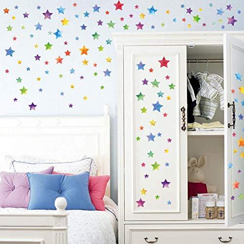 GWFVA Vinilos Decorativos Estrellas de Colores Habitación Infantil Dormitorio Vinilos Decorativos Armarios Decoración de Puertas Vinilos Creativos