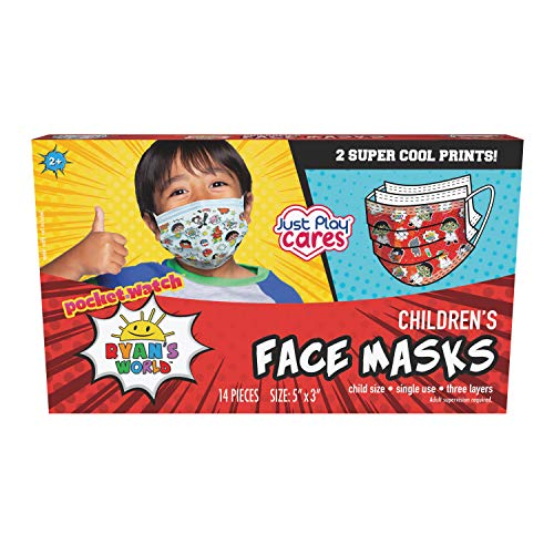 Just Play Children's Single Use Face Mask, Ryan's World, 14 Count, Small, Ages 2 - 7