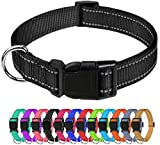 TagME Reflective Nylon Dog Collars, Adjustable Classic Dog Collar with Quick Release Buckle for...