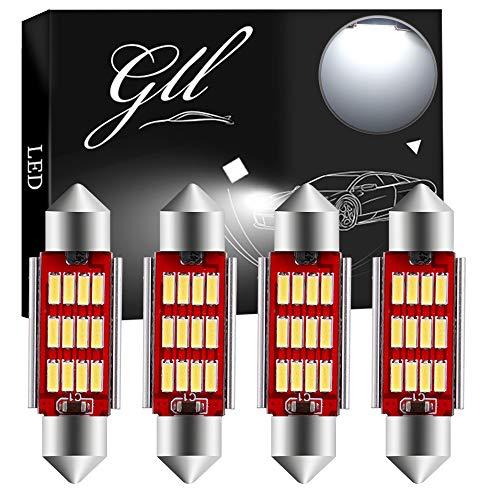 GLL 4pcs 39MM C5W LED Canbus Bianco 6411 6413 6418 Festone Lampadine Interne a Cupola con 4014-12SMD per Bagagliaio per Auto Luci di Targa di Cortesia 400LM 9-26V