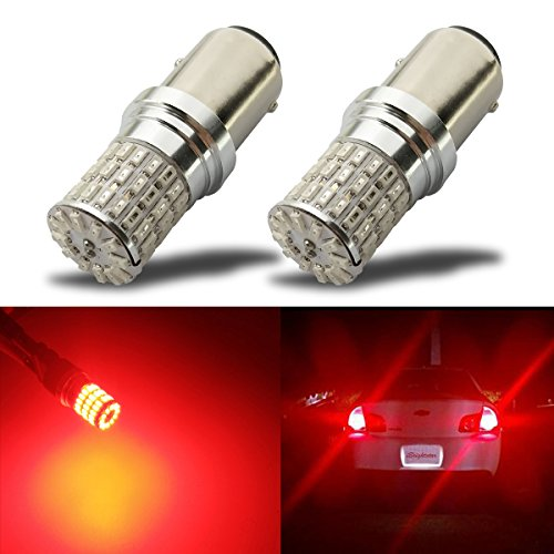 iBrightstar Newest 9-30V Extremely Bright 1157 2057 2357 7528 BAY15D LED Bulbs replacement for Tail Brake Lights, Brilliant Red
