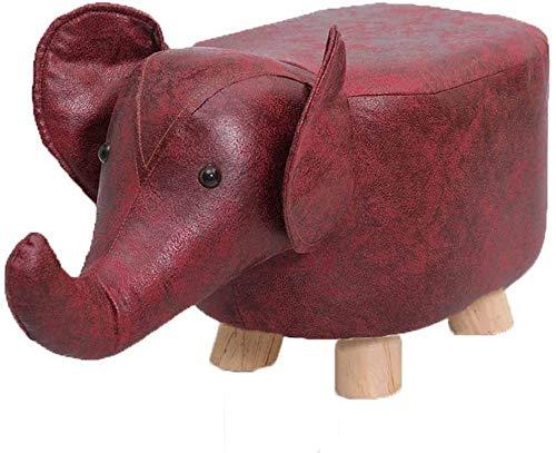 Escabeau Jouet Change Banc de Chaussures d'éléphant Enfants, Coussin rembourré Repose-Pieds en Cuir Pouf Pouf, Salon Décoration Meubles (Color : Red)
