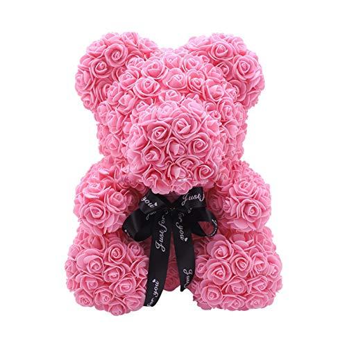 Rose Bear Teddy Flower - Rose Ours Fleur Éternelle Pour Maman Et Femme Cadeau,ours Rose Décoration En Forme D'Ours En Fleurs Artificielles Faites À La Main Pour Un Anniversaire Valentin UnAnniversaire