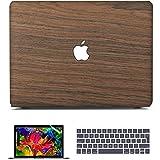 BELK Funda para MacBook Pro 13 Pulgadas M1 2020 2019 2018 2017, Madera Rígida Protecta de la Carcasa + Teclado Cubierta (EU Layout) + Protector de Pantalla,Cereza