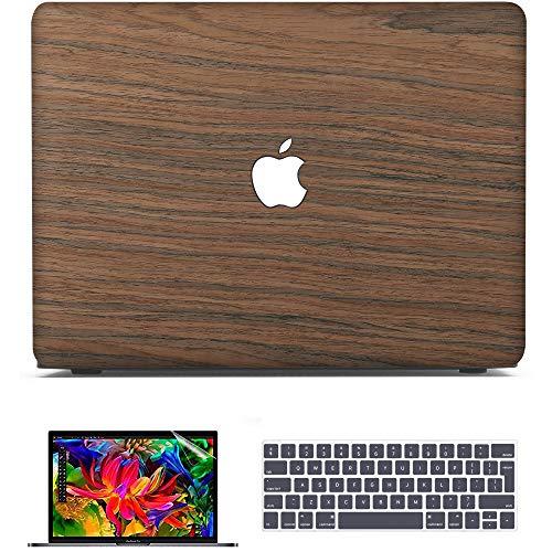 BELK Funda para MacBook Pro 13 Pulgadas M1 2021 2020 2019 2018 2017, Madera Rígida Protecta de la Carcasa + Teclado Cubierta (EU Layout) + Protector de Pantalla,Cereza