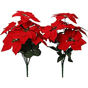 Nubry 2pcs Artificial Poinsettia Flowers Fake 7 Heads Red Christmas Decoration Bouquet Faux Flowers with Stem for Christmas Tree Home Garden Decor