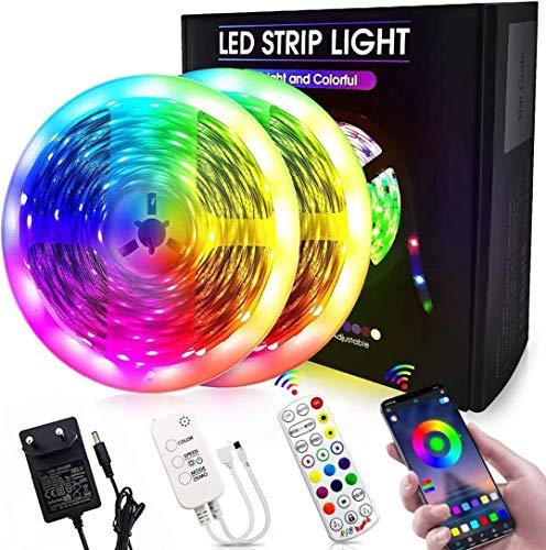 Bluetooth LED Streifen 20m Masqudo 5050 RGB LED Band mit APP-Steuerung und Fernbedienung 44 Tasten 12V 2x10m LED Stripe für Zimmer Küche Schrank Dekoration