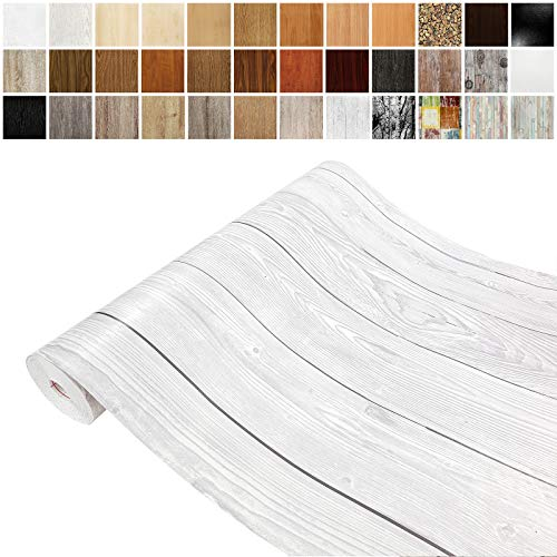 Askol DecoMeister Klebefolien in Holz-Optik Holzfolien Deko-Folien Holzdekor Selbstklebefolie Möbelfolie Selbstklebend Holz-Maserung 67,5x100 cm Weiße Holzbretter Maserung Shabby Wood