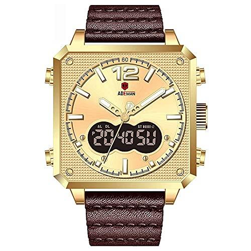 XYCSM Reloj de Hombre Cuadrado, Manos Digitales Multifunción Doble Manos Doble Pantalla Analógica Militar Correa Reloj de Pulsera, Reloj de Exhibición de la Semana de Calendario Aut
