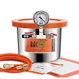 BACOENG 1.5 Gallon Tempered Glass Lid Stainless Steel Vacuum Chamer Perfect for Stabilizing Wood, Degassing Silicones, Epoxies and Essential Oils