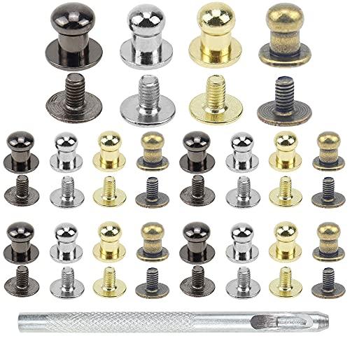 PLCatis 80 Piezas Remaches para Cuero 5MM Remaches Metal Redondos Sólidos Botones de Presion Metalicos Colores Surtidos Botones de Cabeza Redonda para Bolso de Cuero Cinturones Artesanía de Decoración