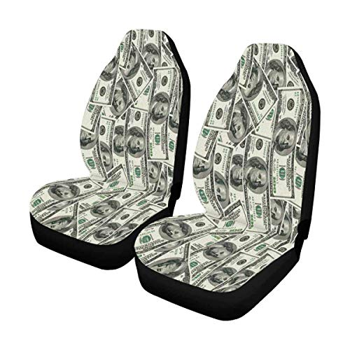 Tridge Lustige Geldwährung 100-Dollar-Scheine Vordersitzbezüge 2-TLG, Gesamter Sitzschutz, Autositzkissen für Haustiere im Fitnessstudio