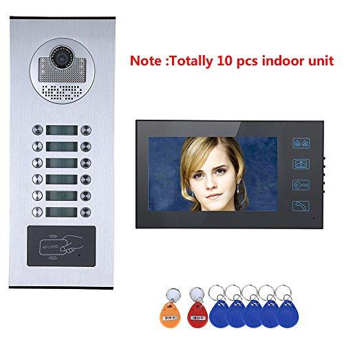 Juego de sistema de teléfono de la puerta con intercomunicador con video a color de 7 'por cable Entrada de acceso RFID Visión nocturna por infrarrojos para 10 apartamentos/Familia/Hogar
