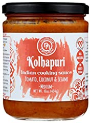 AUTHENTIC FLAVORS OF INDIA: 16oz jar of Pour & Go Indian Curry with flavors from Western India. Light, bright and delicious, our Kolhapuri is not loaded with cream like other cooking sauces. FLAVOR PROFILE: Tomato with Toasted Coconut, Sesame & Serra...