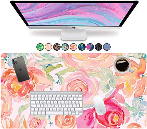 """French Koko Large Mouse Pad, Desk Mat, Keyboard Pad, Desktop Home Office School Cute Decor Big Extended Laptop Protector Computer Accessories Pretty Mousepad Women Girls XL 31""""x15"""" (Watercolor Garden)"""