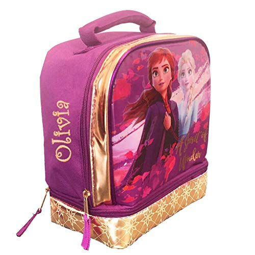 Personalized Insulated Soft School Lunch Box Tote Kit for Girls - Frozen 2 and JoJo Siwa A Spirit of Wonder