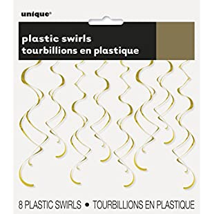 Unique Party 63283-66cm Plastic Hanging Swirl Gold Party Decorations, Pack of 8