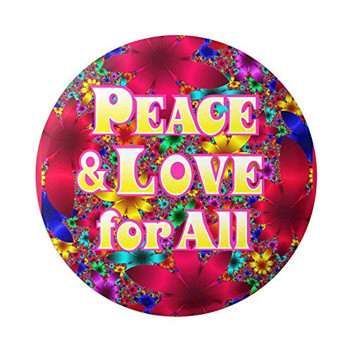 Peace And Love For All Psychedelic Hippie 60s Button Pinback for Backpacks, Jackets, Hats 1.75 Inches